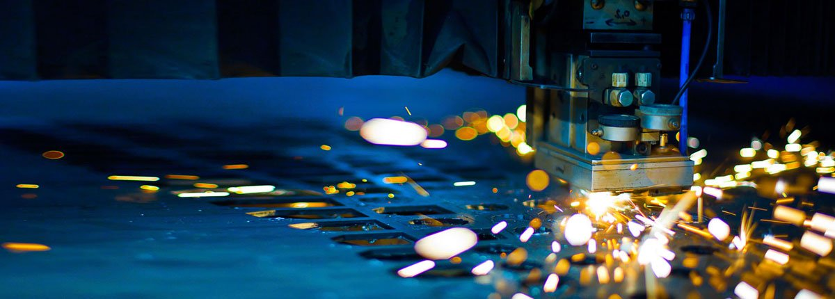 Close-up of laser cutting machine