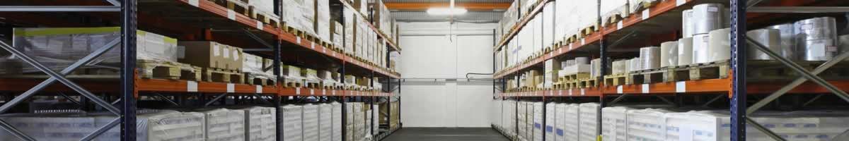 Pallet racks in warehouse