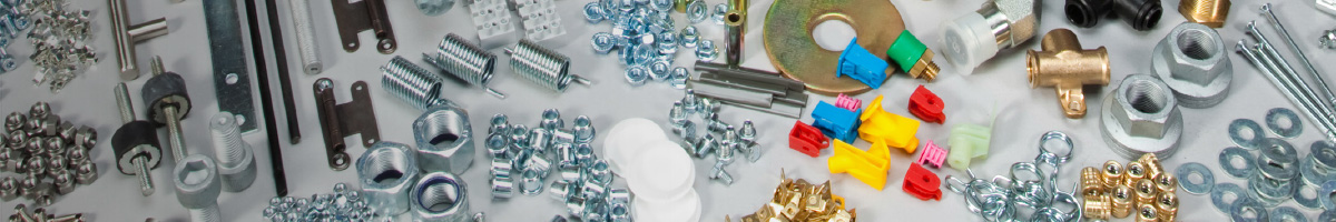Different types of bolts, screws, nuts, and washers